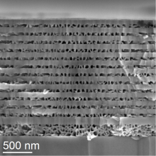 A scanning electron microscope (SEM) image of a DBR made up of alternating layers of porous and non-porous GaN